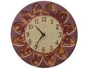 """Wall Clock- Ceramic Tile: Sunburst Design in Cream & Purple (11"""" diameter)"""