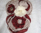 Handmade Fabric Brooch Pin Jewelery  Accessory YoYo-Rolled Rosettes Tans + Burgundy