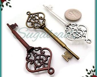 6 Key Pendants in Antique Brass, Silver, Copper - Castle Keys 70mm