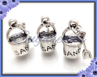 5 Antiqued Silver Sand Pail With Shovel - Beach Charms 29mm PS68