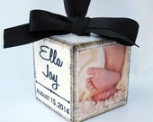 Personalized Baby's First Christmas Ornament In Solid Ivory, My First Christmas Ornament, Baby's 1st Christmas, Photo Block Ornament