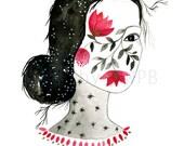 Flower girl print. Art print. Illustration
