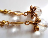 Crystal Earrings, Clear Crystal Earrings, Gold Tone Earrings