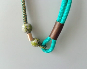 Chunky green chaki brown statement necklace