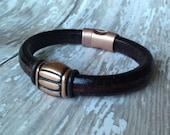 Striped Copper & Leather Bracelet for Your Boyfriend