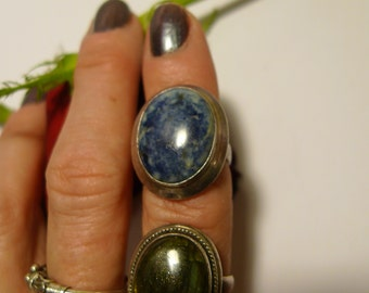 blue lapis ring vintage  sterling silver mexico frida