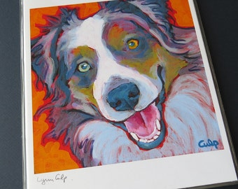 AUSSIE Dog Blue Merle 8x10 Signed Art Print from Painting by Lynn Culp