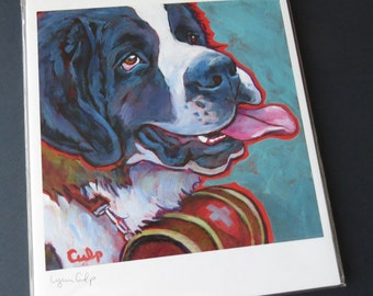 ST BERNARD 8x10 Signed Dog Art Print by Lynn Culp