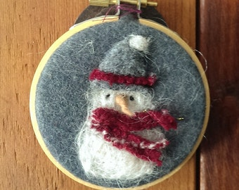 Small Snowman Embroidery Hoop Art Winter Decoration Birthday Gift Felted