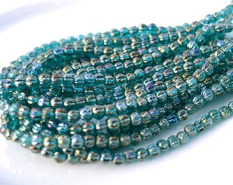 Atlantis Blue 5mm Melon Round Czech Glass Beads  50