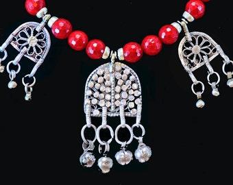 Vintage Yemenite Bawsani Pendants w/Red Coral