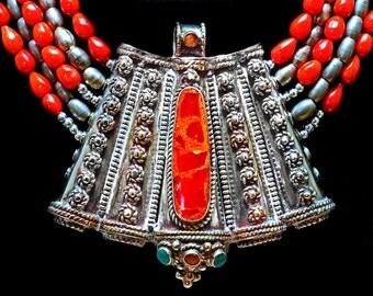 Extraordinary Tibetan Qazi Pendant, Coral & Ethiopian Metal Beads