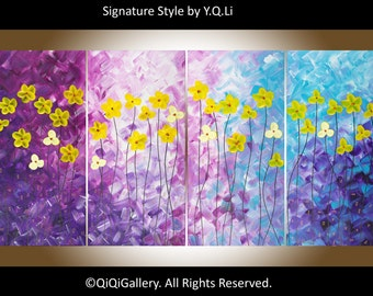 """Abstract painting, purple violet blue yellow painting home decor wall art canvas art gift for her """"Spring Blooming"""" by QIQI"""