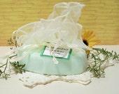 Cucumber Melon scented Shea Butter Soap in a Ivory organza wrap bag, fleur de lis soap 5 oz