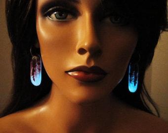 Glow in the dark, dichroic glass earrings, Halloween, bloody, spooky, gift