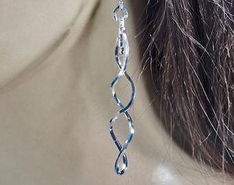 Sterling silver, spiral earrings, simple and elegant