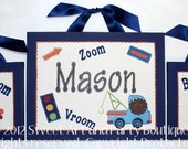 Transportation, Art for Boys room, Canvas name sign, Car Art, Nursery wall art, Truck nursery art, Hand Painted, Personalized, Nursery Decor