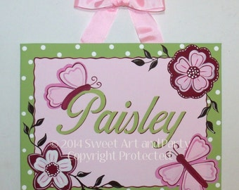 Butterfly, Flower, Canvas name sign, Nursery wall art, Door sign, Pink, Green, Pink Green nursery, Butterfly nursery, Hand Painted, Painting