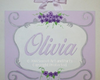 Lavender, Purple, Flowers, Nursery wall art, Canvas name sign, Custom wall art, hand painted, personalized, princess decor. monogram