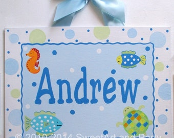 Sea Creatures Ocean Beach Custom canvas letter name sign wall art decor hanging baby boy turtle fish seahorse aqua blue sage green turquoise