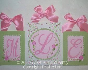 Rose, Nursery Wall art, Initial letters, Nursery wall letter, Canvas wall letter, Monogram art, Flowers, Pink, Green, girls Rose Nursery