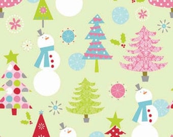 Riley Blake Designs Christmas Fabric - Basic Main Lime - Christmas Trees - Snowman - Holiday Fabric - Lime