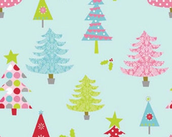 Riley Blake Designs Christmas Fabric - Basic Main Blue - Christmas Trees - Holiday Fabric - Blue