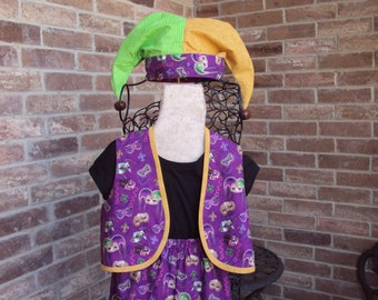 Mardi Gras Costume for Children, Jester, pants, vest and jester hat  only one --OOAK