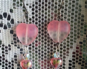 Pink Heart Beaded Earrings, Valentine Earrings, Heart Earrings, Pink Earrings, Lovers, Quinceañera, Sweet 16, Valentine Dance, For Her