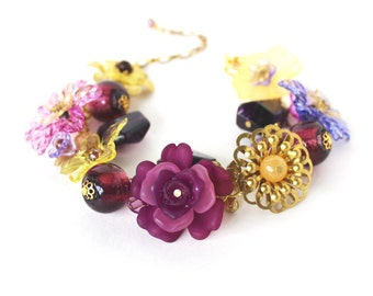 Purple and yellow beaded flower charm bracelet CLEARANCE