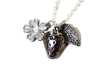 Strawberry jewelry etsy for Strawberry shortcake necklace jewelry