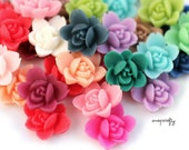 20pc wild rose resin flower cabochons / 20 colors / 12mm / great for making diy stud earrings