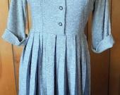 VINTAGE TWEED DRESS, pleats, buttons, grey/cream, Teena Paige Fashions, wool shirtdress, mid century