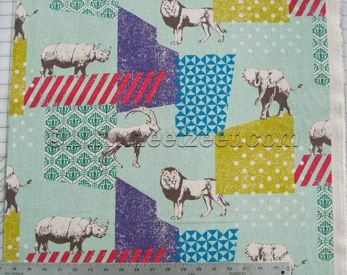 SAFARI ANIMALS Seafoam Mint Green Echino Zoo Decoro Japanese Fabric Import - Lightweight Canvas Japan JG-96000-601B by Etsuko Furuya Kokka
