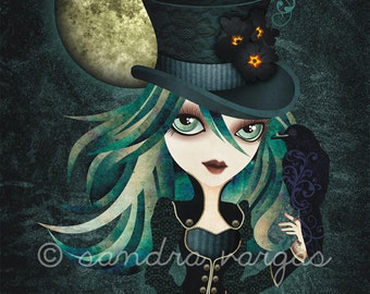 Raven's Moon, 8 x 10 Art Print, Victorian Gothic Girl