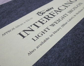 Black Light Weight Iron-on Interfacing