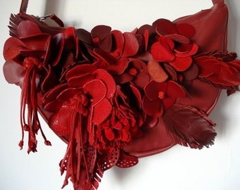 Handmade Bouquet Crescent Bag in Red leather and suede