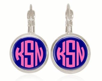 Monogram Earrings, Circle Monogram, Preppy Earrings, Pink and Navy, Personalized Gift (Pink On Navy - Drop Style Earrings)