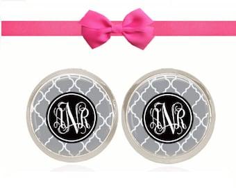 Monogram Earrings, Stud Earrings, Monogram Jewelry, Sorority Gift, Personalized Gift (White On Black on Gray Pattern - Stud Earrings)