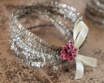 Retro Silver Tinsel Trim - Narrow Holiday Decorating Tinsel -  Silver Metallic Garland - Perfect Silver Vintage Style Wired Tinsel