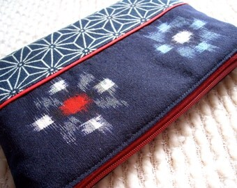Traditional Japanese Zipper Bag, Vintage Kasuri Kimono Fabric Padded Zippy Pouch with Dark Red Zip, Asanoha Design, Red White Blue