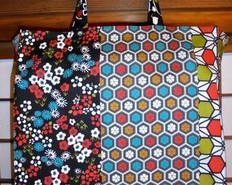 Japan Tote Bag, Traditional Japanese Design Patterns TIGHT 'N' TIDY Tote Bag / Folding Shopping Bag / Market Tote Bag / Navy Red White Teal
