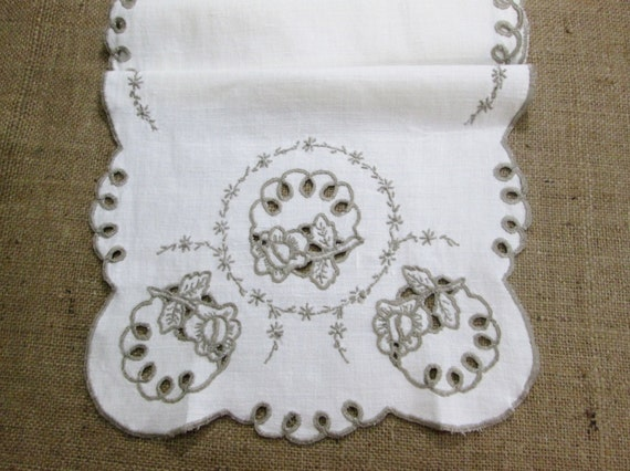 Vintage Linens Table Runner Dresser Scarf Embroidered White Linen