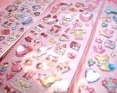 KAWAII Birthday Jewel Seal Puffy Sticker Sheet Gems Bows Cake Bears