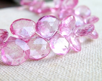 Pink Topaz Gemstone Briolette Mystic Faceted Heart Teardrop 10.5mm 5 beads