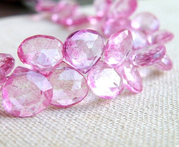 pink topaz gemstone briolette mystic faceted by