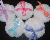 """Baby Doll Powder Puff  5"""" WHITE You Choose Ribbon Color"""