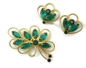Green Rhinestone Brooch and Clip Earring Jewelry Set - Costume Jewelry