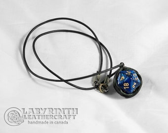 RESERVED for Jacob - Dice Necklace - d20 Leather Necklace - Blue and Gold