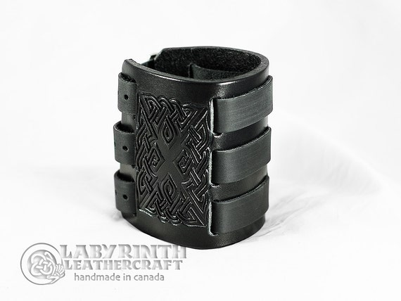 Leather Cuff - Jagged Celtic - 3 Band Black
